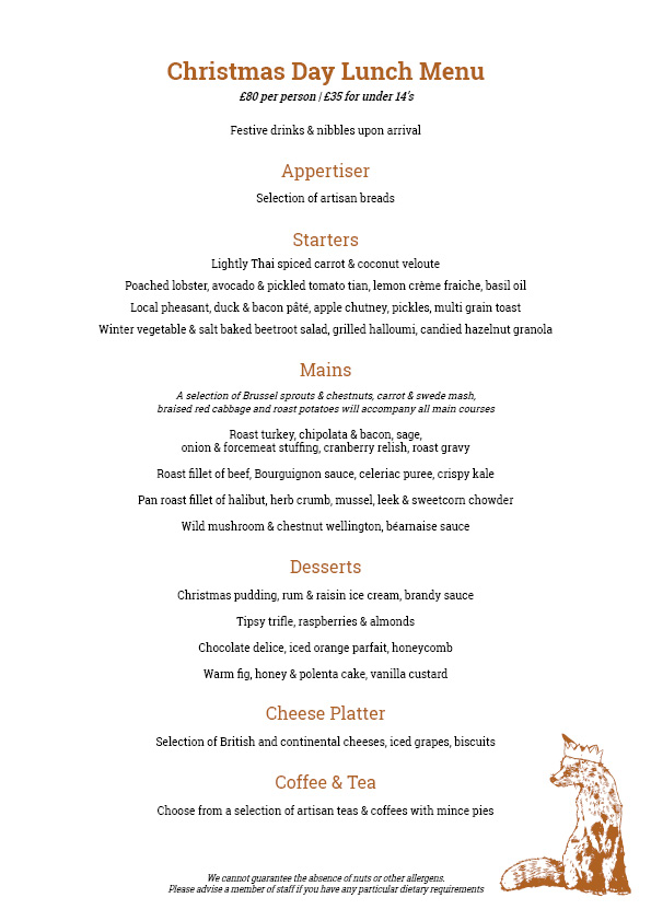 A4 Christmas Day Lunch Menu 2017